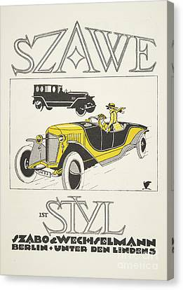German Cars Canvas Print - Vintage Poster Depicting Classic Car From The Twenties by German School