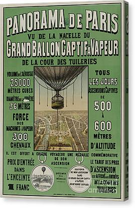Canvas Print featuring the photograph Vintage Poster Of Great Balloon View Of Paris 1878 by John Stephens
