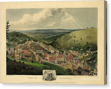 Canvas Print featuring the photograph Vintage Pottsville Pennsylvania Etching With Remarque by John Stephens