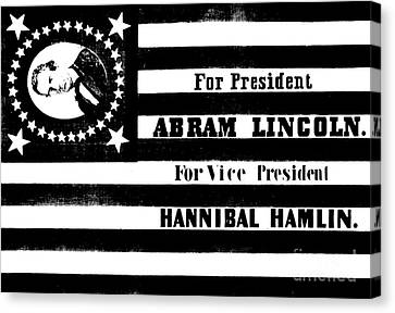 Vintage Presidential Campaign Flag Of Abraham Lincoln For President Canvas Print by American School