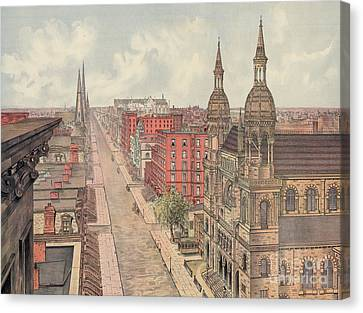 Vintage Print Of Fifth Avenue From 42nd Street In New York City, Looking North, 1904 Canvas Print