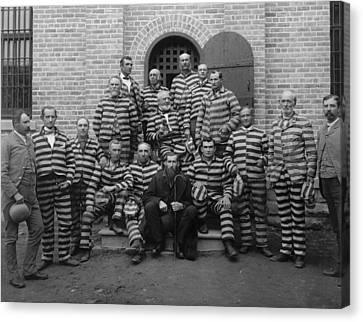 Vintage Prisoners In Striped Uniforms - 1889 Canvas Print by War Is Hell Store