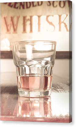 Blend Canvas Print - Vintage Pub Whisky On Old Wooden Counter by Jorgo Photography - Wall Art Gallery
