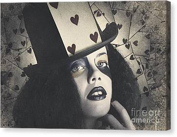 Vintage Queen Of Hearts Wearing Poker Card Canvas Print by Jorgo Photography - Wall Art Gallery