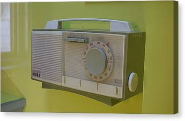 Canvas Print featuring the photograph Vintage Radio With Lime Green Background by Matthew Bamberg
