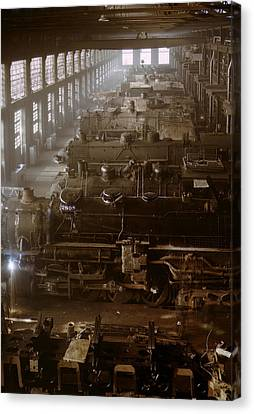 Vintage Trains Canvas Print - Vintage Railroad Locomotive Shop - 1942 by War Is Hell Store