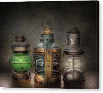 Vintage Railroad Oil Lamps Canvas Print by David and Carol Kelly