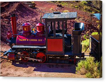 Vintage Red Calico Train Canvas Print by Garry Gay