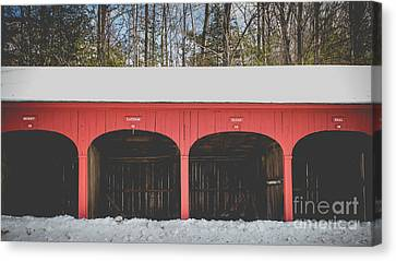 Canvas Print featuring the photograph Vintage Red Carriage Barn Lyme by Edward Fielding