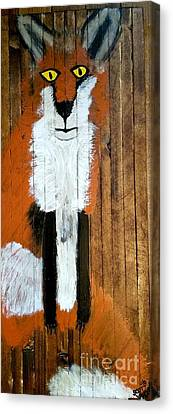 Vintage Red Fox Painting Canvas Print by Scott D Van Osdol