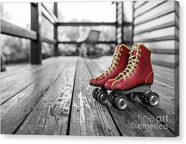 Vintage Red Roller Skates Canvas Print by Edward Fielding