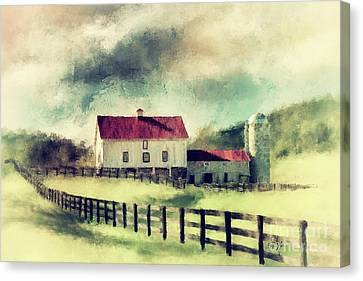 Canvas Print featuring the digital art Vintage Red Roof Barn by Lois Bryan