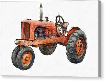 Tractors Canvas Print - Vintage Red Tractor Pencil by Edward Fielding