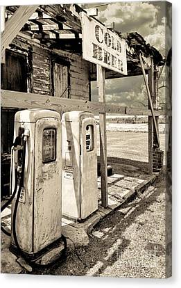 Vintage Retro Gas Pumps Canvas Print by Mindy Sommers