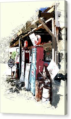 Vintage Road Trip Mobil Gas Station Canvas Print by Elaine Plesser