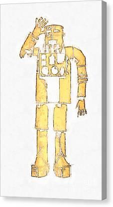 Vintage Robot Pencil Canvas Print by Edward Fielding