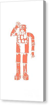 Vintage Robot Tee Canvas Print by Edward Fielding