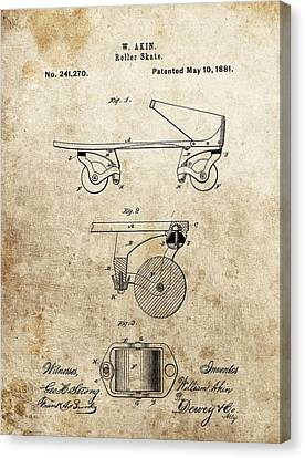 Rollerskate Canvas Print - Vintage Roller Skate Patent by Dan Sproul