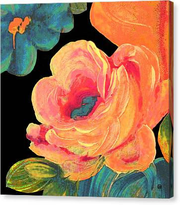 Canvas Print featuring the painting Vintage Rose On Black by Lisa Weedn