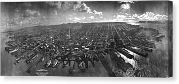 Vintage San Francisco Panoramic Photograph - 1902 Canvas Print by CartographyAssociates