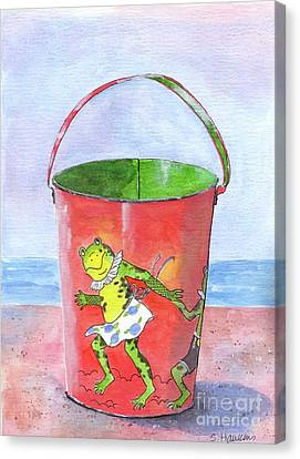 Beach Pails Canvas Print - Vintage Sand Pail Dancing Frogs by Sheryl Heatherly Hawkins