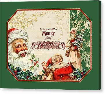 Santa Claus Canvas Print - Vintage Santa Claus - Glittering Christmas 3 by Audrey Jeanne Roberts