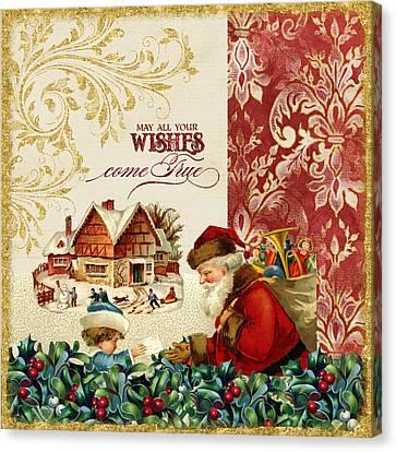 Santa Claus Canvas Print - Vintage Santa Claus - Glittering Christmas 4 by Audrey Jeanne Roberts