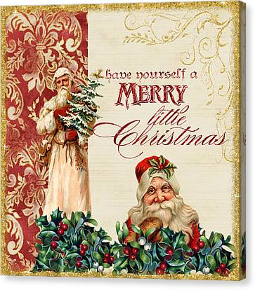 Vintage Santa Claus - Glittering Christmas Canvas Print by Audrey Jeanne Roberts