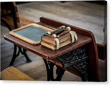 Old School Houses Canvas Print - Vintage School Desk by Paul Freidlund