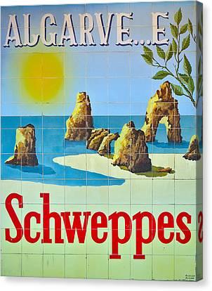 Vintage Schweppes Algarve Mosaic Canvas Print by Angelo DeVal