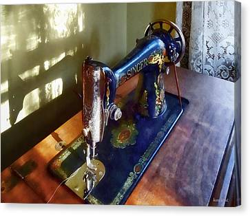 Sewing Machine Canvas Print - Vintage Sewing Machine And Shadow by Susan Savad