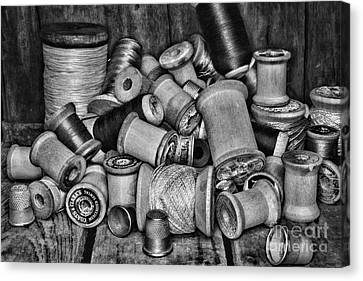 Vintage Sewing Spools In Black And White Canvas Print by Paul Ward
