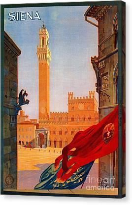 Vintage Siena Italian Travel Advertising Canvas Print by Heidi De Leeuw