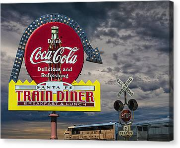 Vintage Sign For A Classic Train Diner With The South Dakota Central Railway Canvas Print by Randall Nyhof
