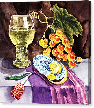 Still Life Of Wine And Grapes Canvas Print - Vintage Sill Life With Goblet by Irina Sztukowski