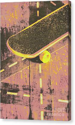 Vintage Skateboard Ruling The Road Canvas Print
