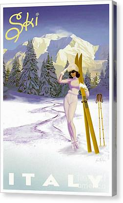 Vintage Skiing Glamour Canvas Print by Mindy Sommers