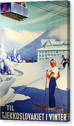 Vintage Skiing Poster Canvas Print by Tina Lavoie