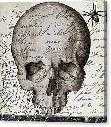 Vintage Skull Halloween Paris Canvas Print by Mindy Sommers