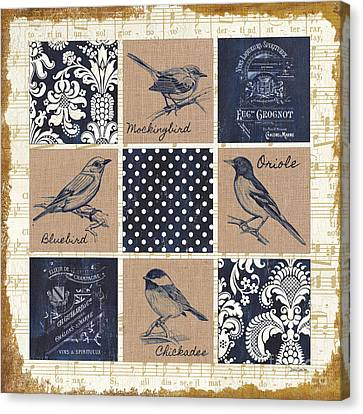 Vintage Songbird Patch 2 Canvas Print by Debbie DeWitt