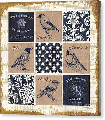 Vintage Songbirds Patch Canvas Print by Debbie DeWitt