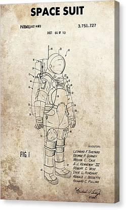 The Universe Canvas Print - Vintage Space Suit Patent by Dan Sproul