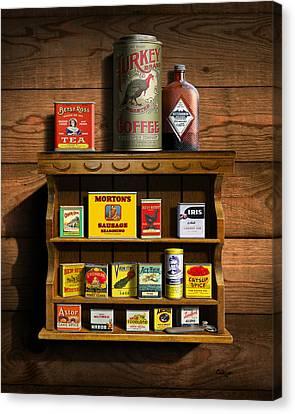 Vintage Spice Tins 2 - Nostalgic Spice Rack - Americana Kitchen Art Decor  Canvas Print