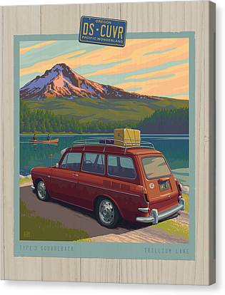 Vintage Squareback At Trillium Lake Canvas Print by Mitch Frey