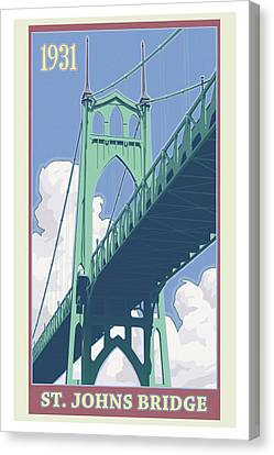 Vintage St. Johns Bridge Travel Poster Canvas Print by Mitch Frey