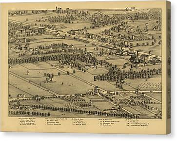 Vintage St Louis Map - 1875 Canvas Print by Camille Dry