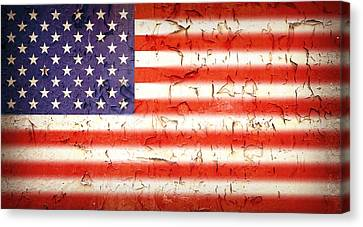 Usa Canvas Print - Vintage Stars And Stripes by Jane Rix