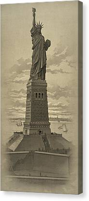 Vintage Statue Of Liberty Canvas Print by War Is Hell Store