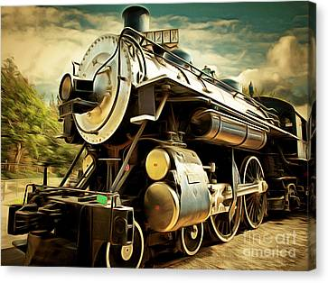 Vintage Steam Locomotive 5d29110brun Canvas Print