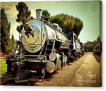 Vintage Steam Locomotive 5d29135brun Canvas Print
